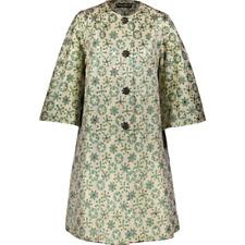 DOLCE & GABBANA Gold & Green Metallic A-Line Coat - UK 6/IT 38