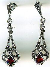 """925 Sterling Silver Garnet & Marcasite Drop Dangle Earrings   Length 1.1/2"""""""