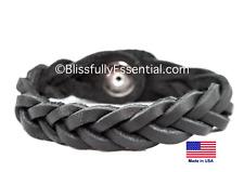 Genuine Leather Essential Oil Diffuser Bracelet (Large/Adult, Black)
