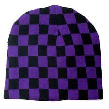 Winter Ski Snowboarding Unisex Hat Cap ~ Purple Black Checkrs Beanie ( Qty 2 )