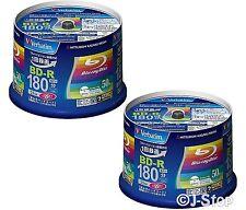100 Verbatim BD-R 25 GB 6x Speed Single Layer Bluray Discs Inkjet Printable