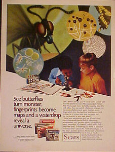 1971 Sears Microscope~Chemistry~Geology~Biology Sets Toy Memorabilia Promo Ad