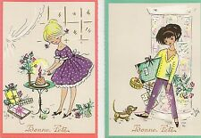 LOT DE 2 CARTES POSTALES GRAND FORMAT FANTAISIE ILLUSTRATEUR BONNE FETE FEMME
