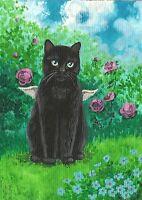 PRINT OF ACEO PAINTING BLACK CAT ANGEL FAIRY ROSE FOLK GARDEN SPRING RYTA FLOWER