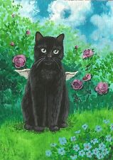 5x7 Print Of Painting Black Cat Angel Fairy Flowers Rose Victorian Garden Folk