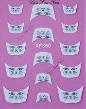 Nail Stickers Uñas francés consejos White/silver Arte-Bodas Bridal Cat-xf-860