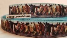 Grosgrain Ribbon Horses Bridles Halters Fence Rail Western Country Show, 7/8