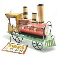 """Department 56 Toys in the Attic Train Ornament Metal 7"""" Train Ornament Toy Tags"""