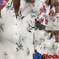 Womens Floral Print V Neck Shirt Tops Ladies Long Sleeve Button Blouse Tops Tee