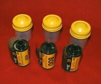 Lot of 3 Kodak 35mm Metal Film Canisters+2 Rolls 400 Kodak Film +1Roll 800 Film