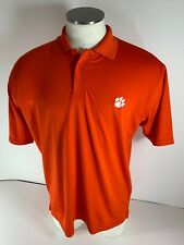 Under Armour Men's Clemson Tigers Orange Polo Shirt Shirt Sleeve White Paw MD