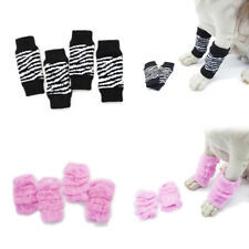 4x Cute Puppy Dog Pet Cat Leg Warmers Socks Safety Protectors Colourful Printed