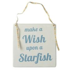 Nautical Beach Seaside costal bathroom Wooden Sign Make a Wish Upon Starfish