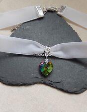 Classic White Velvet Choker/Necklace Rainbow Foil Crystal Heart Wedding/Prom UK