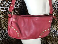 Maple Leaf Accessories  Leather HoBo Shoulder Bag  Red with Brass Tone Hardware