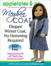 """American Girl Doll Sewing Pattern -Meghan Coat Sewing Pattern for 18"""" Dolls"""