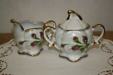 Mini Creamer and Sugar Bowl w/Lid - Moss Ross - Pearlized - Marked MR-1