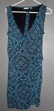 New York & Company Stretch Faux Wrap Dress Sz Large Blue/Green V-Neck Sleeveless