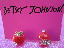 Betsey Johnson Red Apple Earrings
