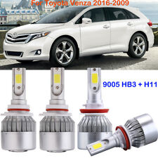 4X Combo LED Headlight Kit H11 9005 Hi/Low Beam Bulbs For Toyota Venza 2016-2009