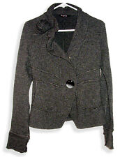 Siste's Italian Made Fitted Design Gray Wool Blend Jacket with Flower Accent-P-S