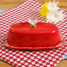 ❤️❤️❤️ VINTAGE INSPIRED STYLE RETRO RED BUTTER DISH NEW ❤️❤️❤️GORGEOUS RED