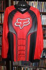 Fox Racing Red Black Pattern Long Sleeve Knit Shirt Mens Motocross M (b142)