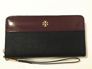 NWT Tory Burch Emerson Mixed-Materials Wristlet Zip Continental Wallet Black