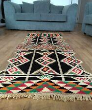Flat-woven washable runner rug 165 x 65 tribal print handmade Egypt
