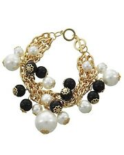GOLDTONE SYNTHETIC WHITE & BLACK PEARL CHARM BRACELET