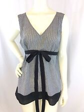 Ann Taylor LOFT Black, White Stripes Empire Waist w/Tie Sleeveless Top Size 10