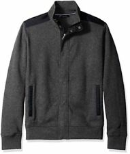 Nautica French Ribbed Track Jacket Charcoal Heather Mens Size Small New