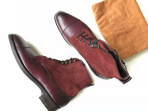 EDWARD GREEN 'Galway' Boot Burgundy Antique Calf w/ Suede 11/11.5 D 82, $1600