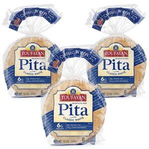 3 Packs (12oz)  Toufayan  Classic White Hearth Baked Pita Bread KOSHER VEGAN