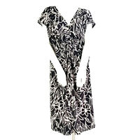 APNY Womens Dress 3X Black White Floral Twist Front Short Sleeve Sheath Cocktail