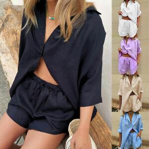 2Pcs Women Casual Cotton Linen Short Sleeve T-shirt Tops Shorts Pants Set Summer