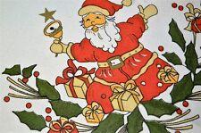 OLD ST. NICK BELLRINGER! VINTAGE GERMAN LARGE CHRISTMAS PRINT TABLECLOTH SANTA