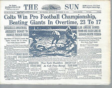 Baltimore Colts NFL Football Team Napkin of The Sun Article of Win over Giants