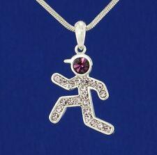 Runner w Swarovski Crystal Jogger Sport Running Men Boy Necklace Purple Jewelry