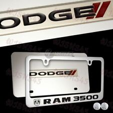 DODGE // RAM 3500 Stainless Steel License Plate Frame w/ cap - 2PCS FRONT & BACK