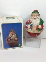 Vintage Santa's World Music Box Round Bottom Santa Claus With Toys Christmas