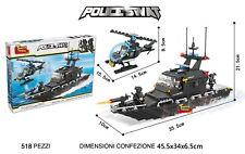 COSTRUZIONI MATTONCINI TIPO LEGO - INCROCIATORE E ELICOTTERO SWAT TEAM - 518 PZ