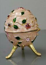 Hand Painted Egg Style Decorative Jewelry Trinket Box,Garnet crystal base metal