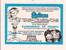 Carte d'abonnement à Spirou. GASTON par FRANQUIN - 1984