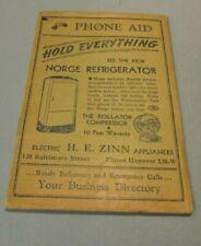 1939 Hanover Pennsylvania Business Telephone Directory Norge Refrigerator Ads