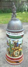 fine old German regimental beer stein with lithophane base