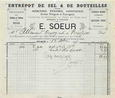 Invoice - Warehouse of Salt & Set Bottles a. S. E. a. N.Sister to Fayl-Billot -