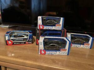 Lotto 5 Modellini Burago 1:43 Bugatti Chiron Giulia Polizia Furgone Fiat