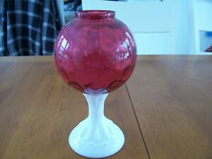 Rare Fenton Art Glass Red Cranberry Dot Optic Milk Glass Foot Ivy Ball Vase Bowl