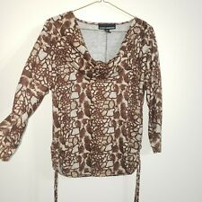 Isabella Rodriguez women's top blouse size XL animal print 3/4 sleeves